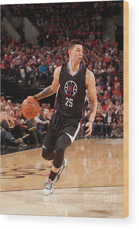 Nba Pro Basketball Wood Print featuring the photograph Austin Rivers by Cameron Browne