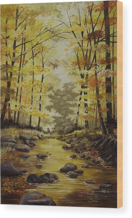 Landscape Wood Print featuring the painting Autumn in Tennessee by Wanda Dansereau