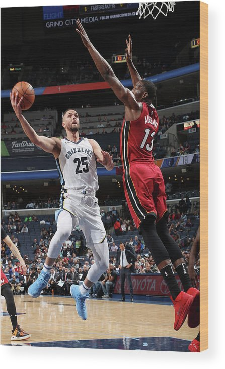 Nba Pro Basketball Wood Print featuring the photograph Bam Adebayo and Chandler Parsons by Joe Murphy