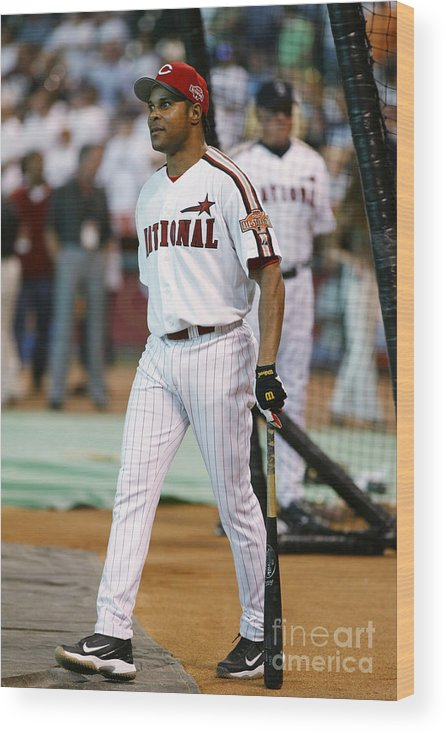 Batting Practice Wood Print featuring the photograph Barry Larkin by Mlb Photos