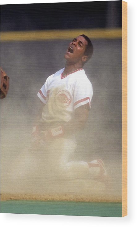 1980-1989 Wood Print featuring the photograph Barry Larkin by Ronald C. Modra/sports Imagery