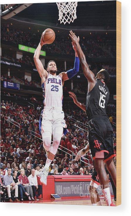 Nba Pro Basketball Wood Print featuring the photograph Ben Simmons by Bill Baptist