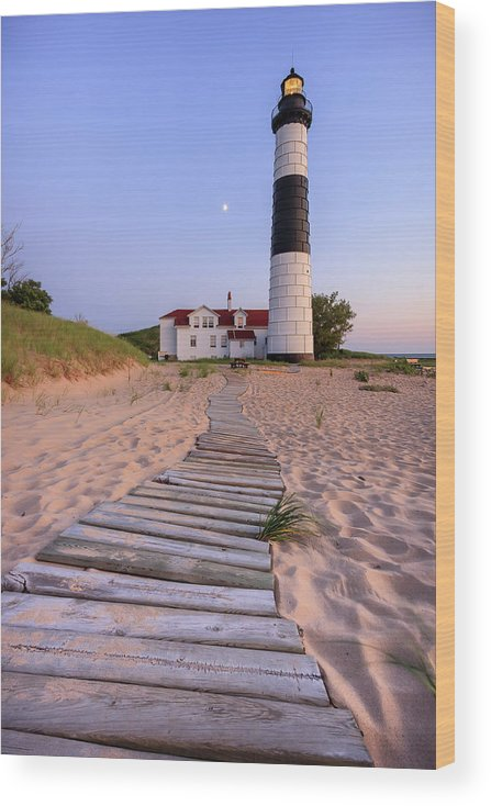 3scape Photos Wood Print featuring the photograph Big Sable Point Lighthouse by Adam Romanowicz