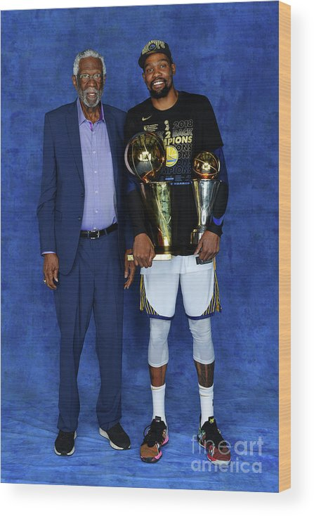 Playoffs Wood Print featuring the photograph Bill Russell and Kevin Durant by Jesse D. Garrabrant