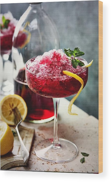Refreshment Wood Print featuring the photograph Black currant crushed ice and lemon by Heidi Coppock-Beard