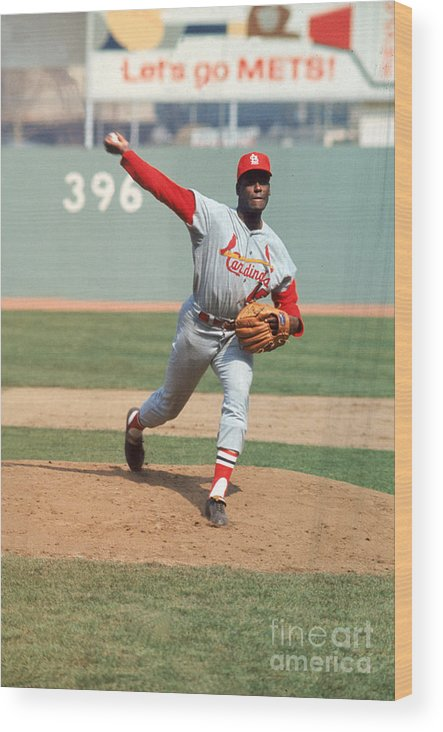 St. Louis Cardinals Wood Print featuring the photograph Bob Gibson by Louis Requena