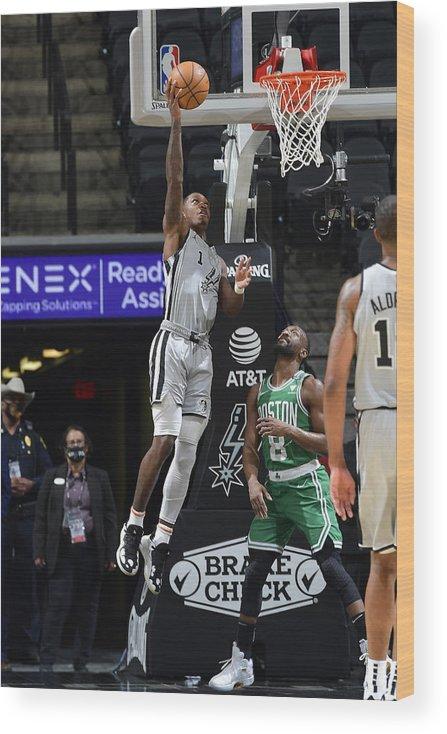 Nba Pro Basketball Wood Print featuring the photograph Boston Celtics v San Antonio Spurs by Logan Riely