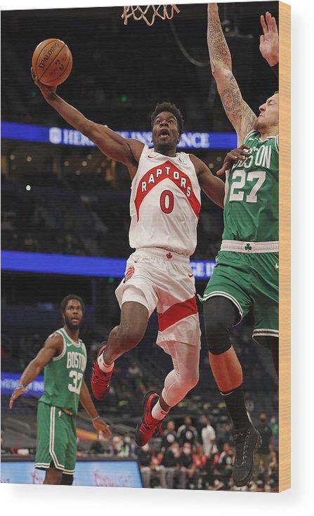 Nba Pro Basketball Wood Print featuring the photograph Boston Celtics v Toronto Raptors by Scott Audette