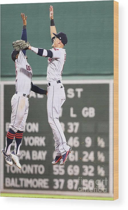 People Wood Print featuring the photograph Brandon Guyer And Francisco Lindor by Adam Glanzman