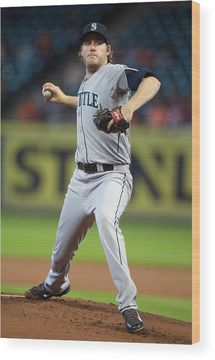 American League Baseball Wood Print featuring the photograph Brandon Maurer by Bob Levey