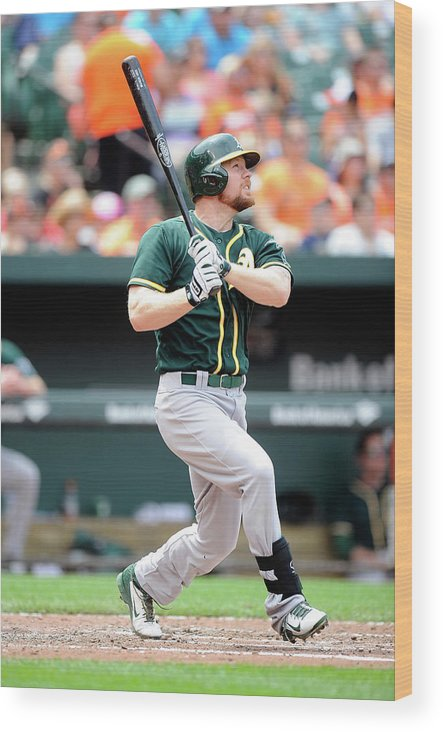 American League Baseball Wood Print featuring the photograph Brandon Moss by Greg Fiume
