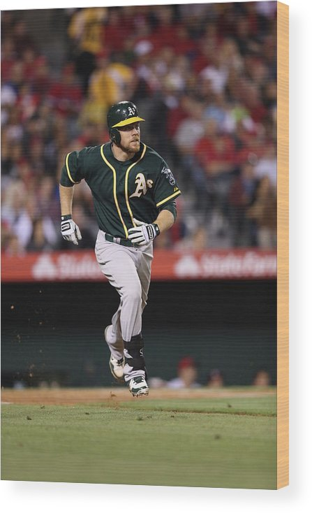 American League Baseball Wood Print featuring the photograph Brandon Moss by Paul Spinelli