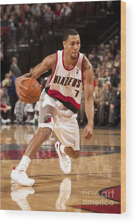 Nba Pro Basketball Wood Print featuring the photograph Brandon Roy by Cameron Browne