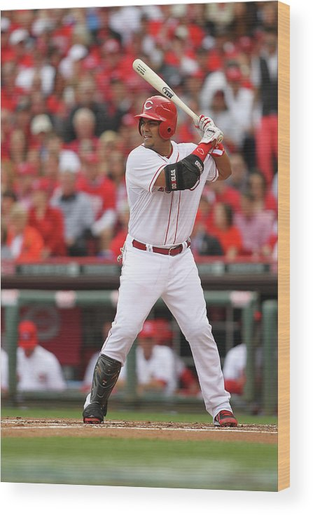 Great American Ball Park Wood Print featuring the photograph Brayan Pena by John Grieshop