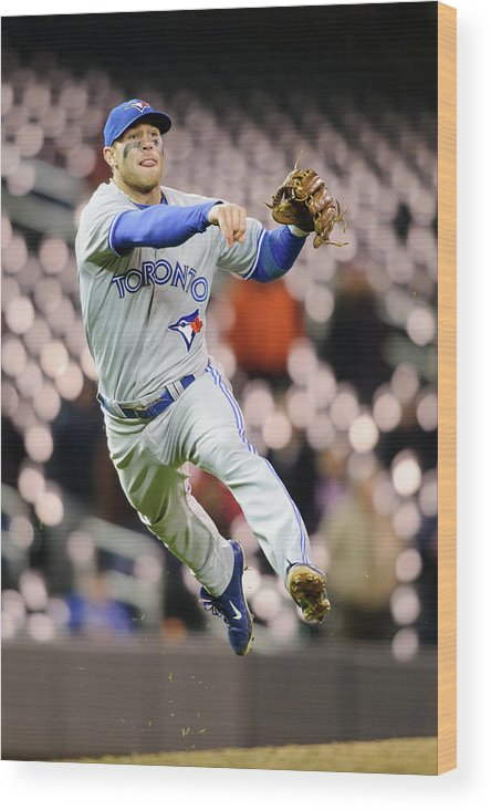 Game Two Wood Print featuring the photograph Brett Lawrie by Hannah Foslien