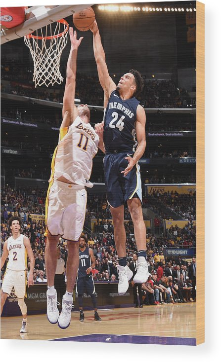 Nba Pro Basketball Wood Print featuring the photograph Brook Lopez and Dillon Brooks by Andrew D. Bernstein