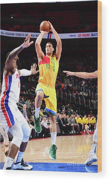 Nba Pro Basketball Wood Print featuring the photograph Brook Lopez by Chris Schwegler