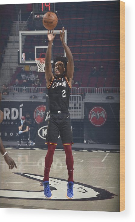Nba Pro Basketball Wood Print featuring the photograph Brooklyn Nets v Cleveland Cavaliers by David Liam Kyle