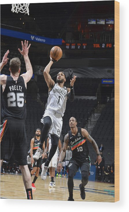Nba Pro Basketball Wood Print featuring the photograph Brooklyn Nets v San Antonio Spurs by Logan Riely