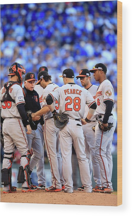 American League Baseball Wood Print featuring the photograph Buck Showalter by Jamie Squire