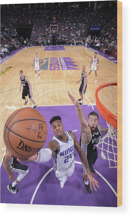 Nba Pro Basketball Wood Print featuring the photograph Buddy Hield and Joffrey Lauvergne by Rocky Widner