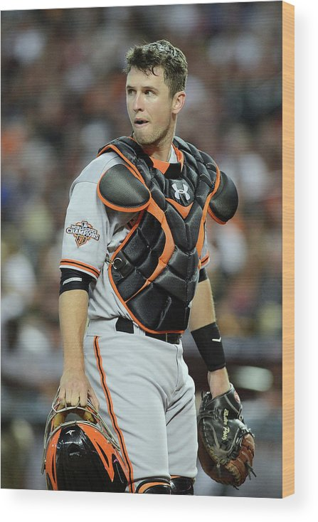 Second Inning Wood Print featuring the photograph Buster Posey by Jennifer Stewart