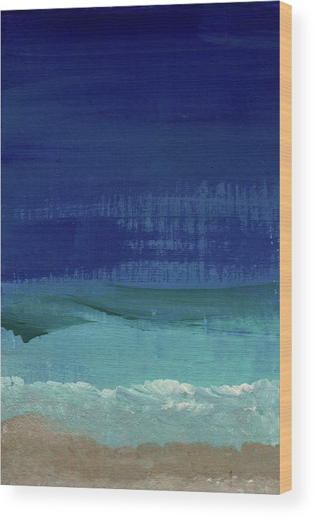 Abstract Art Wood Print featuring the painting Calm Waters- Abstract Landscape Painting by Linda Woods