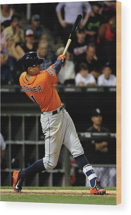Ninth Inning Wood Print featuring the photograph Carlos Correa by Jon Durr