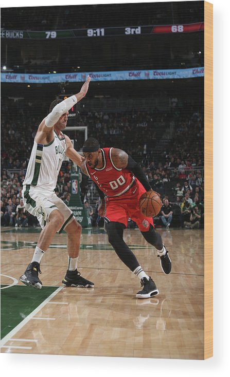Nba Pro Basketball Wood Print featuring the photograph Carmelo Anthony by Gary Dineen
