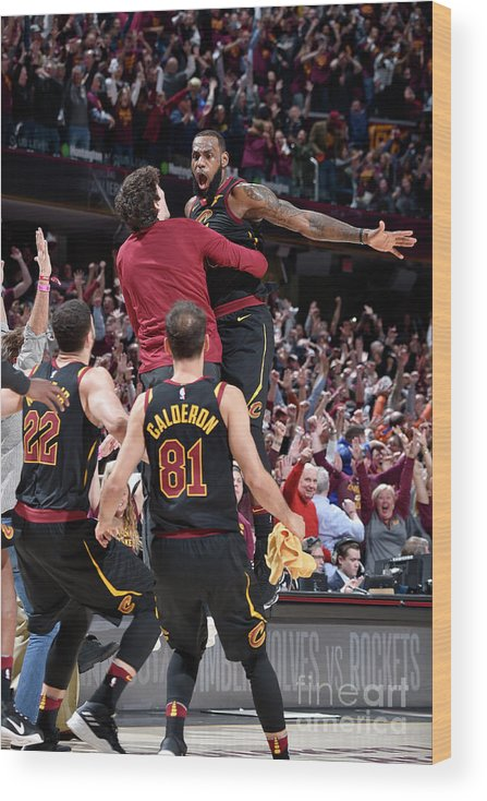 Playoffs Wood Print featuring the photograph Cedi Osman and Lebron James by David Liam Kyle