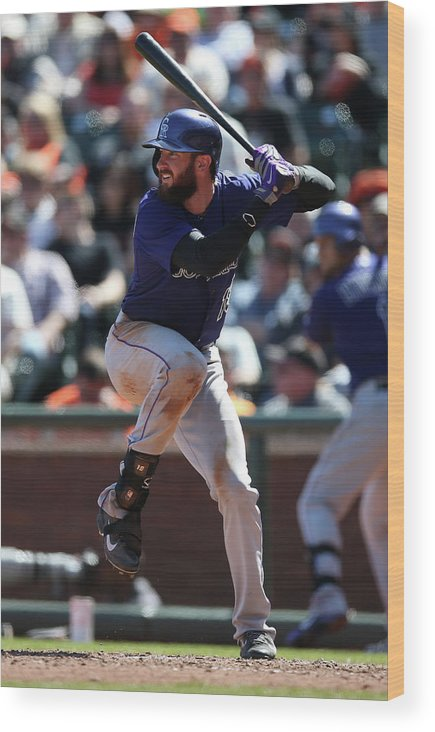 San Francisco Wood Print featuring the photograph Charlie Blackmon by Brad Mangin