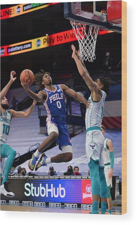 Nba Pro Basketball Wood Print featuring the photograph Charlotte Hornets v Philadelphia 76ers by David Dow