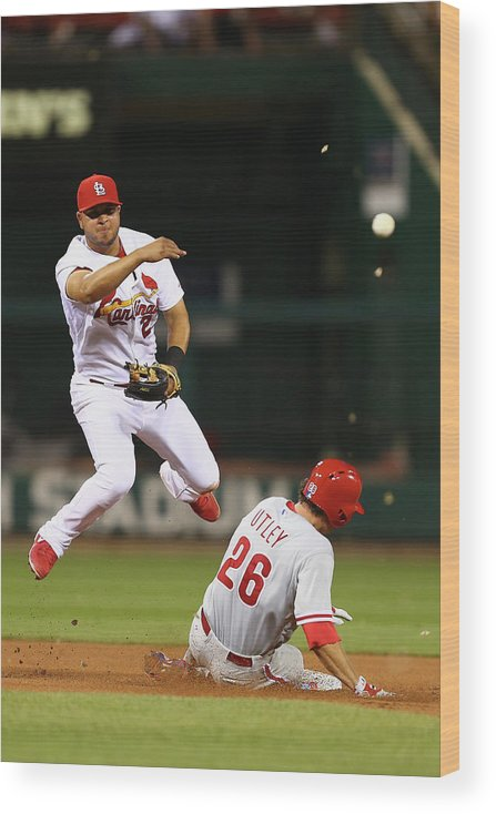 St. Louis Cardinals Wood Print featuring the photograph Chase Utley and Jhonny Peralta by Dilip Vishwanat