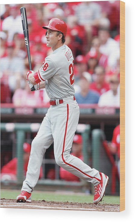 Great American Ball Park Wood Print featuring the photograph Chase Utley by Joe Robbins
