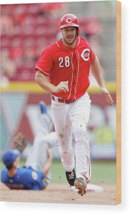 Great American Ball Park Wood Print featuring the photograph Chris Heisey by Joe Robbins
