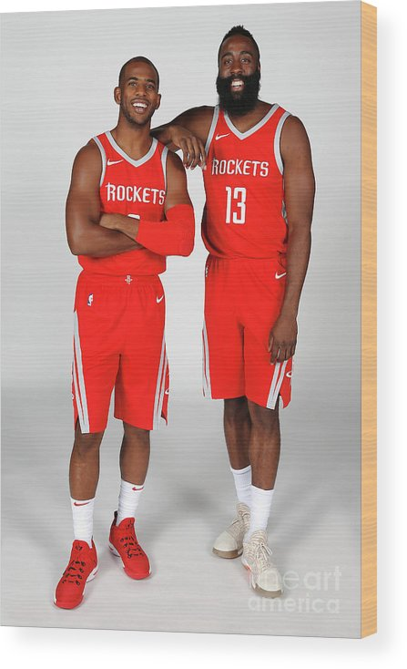 Media Day Wood Print featuring the photograph Chris Paul and James Harden by Nba Photos