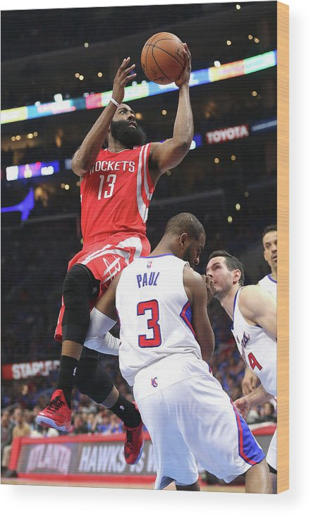 Playoffs Wood Print featuring the photograph Chris Paul and James Harden by Stephen Dunn