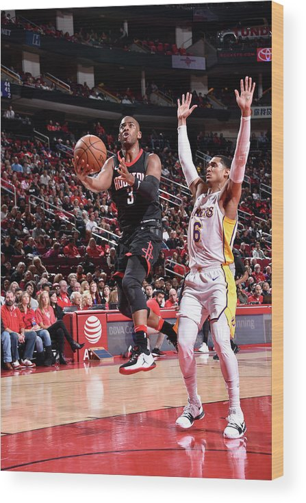 Nba Pro Basketball Wood Print featuring the photograph Chris Paul and Jordan Clarkson by Bill Baptist