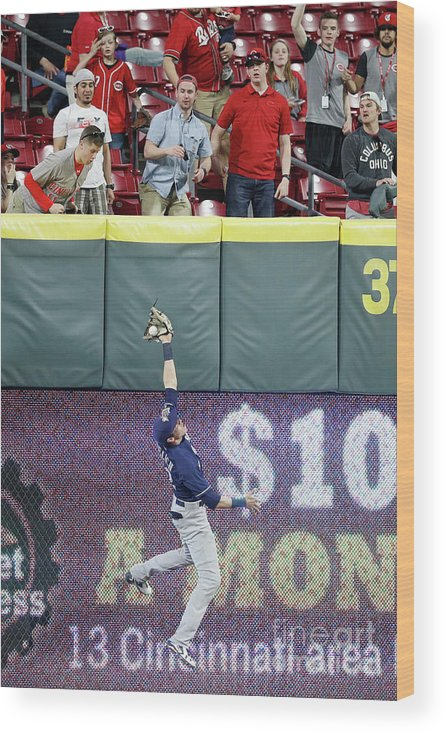 Great American Ball Park Wood Print featuring the photograph Christian Yelich by Joe Robbins