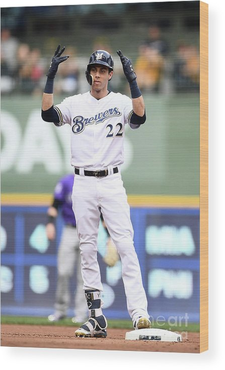 People Wood Print featuring the photograph Christian Yelich by Stacy Revere