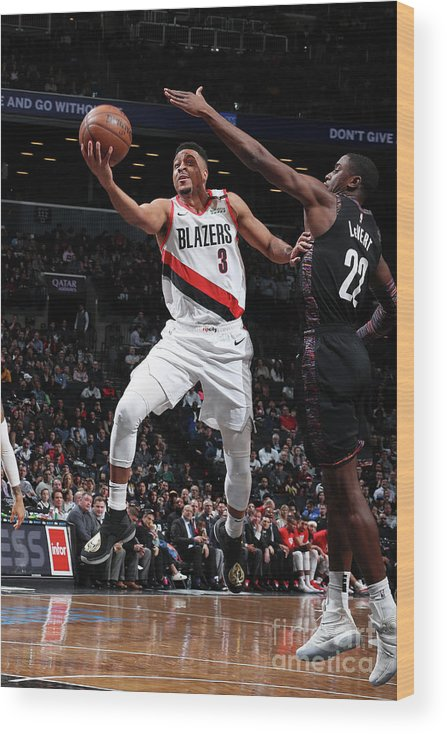 Nba Pro Basketball Wood Print featuring the photograph C.j. Mccollum and Caris Levert by Nathaniel S. Butler