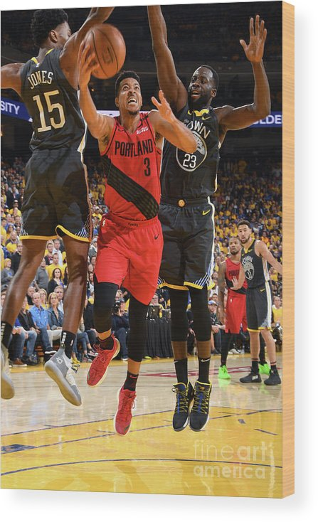 Game Two Wood Print featuring the photograph C.j. Mccollum by Andrew D. Bernstein