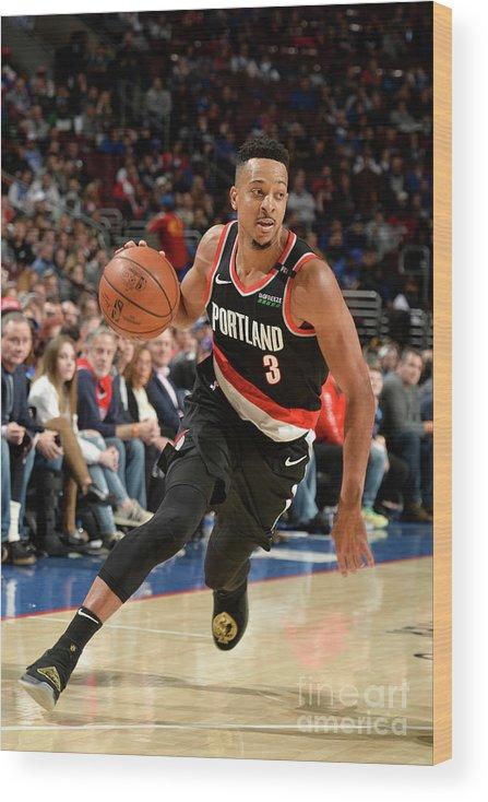 Nba Pro Basketball Wood Print featuring the photograph C.j. Mccollum by David Dow