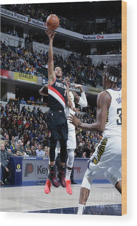Nba Pro Basketball Wood Print featuring the photograph C.j. Mccollum by Ron Hoskins