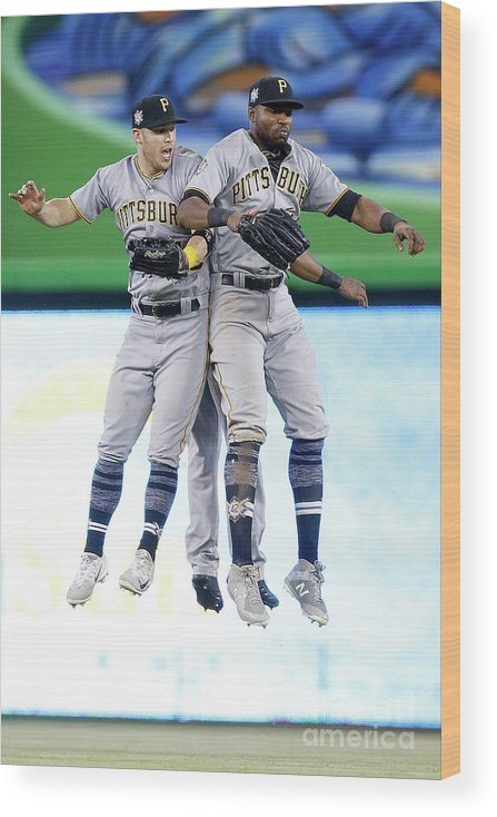 People Wood Print featuring the photograph Corey Dickerson, Starling Marte, and Gregory Polanco by Michael Reaves