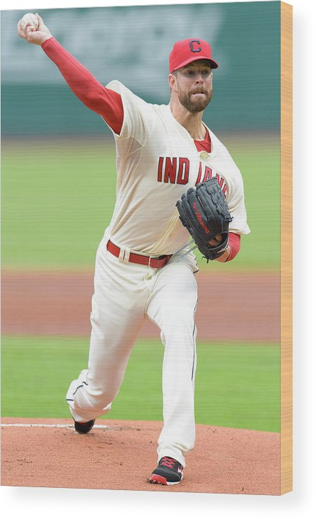 American League Baseball Wood Print featuring the photograph Corey Kluber by Jason Miller