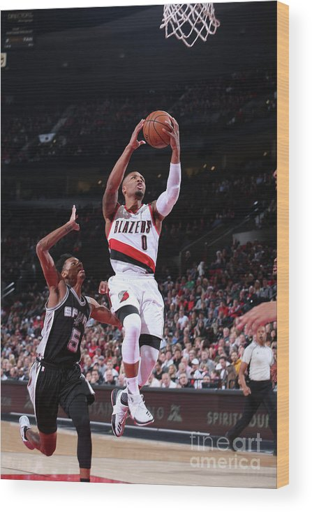 Nba Pro Basketball Wood Print featuring the photograph Damian Lillard and Dejounte Murray by Sam Forencich