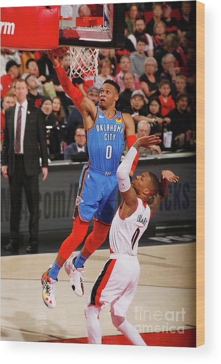 Playoffs Wood Print featuring the photograph Damian Lillard and Russell Westbrook by Cameron Browne