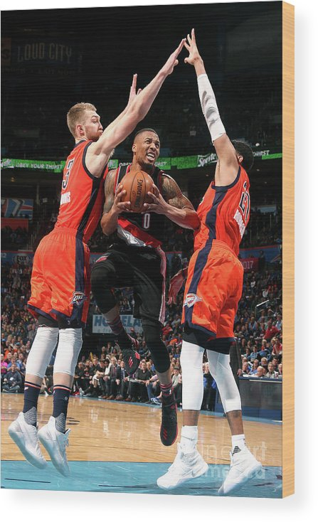 Nba Pro Basketball Wood Print featuring the photograph Damian Lillard by Layne Murdoch