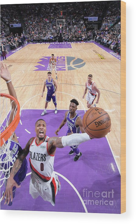 Nba Pro Basketball Wood Print featuring the photograph Damian Lillard by Rocky Widner